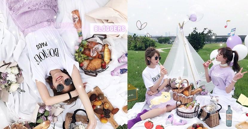 【美圖拍照密技】揪閨蜜拍一波,粉紫色浪漫野餐美到心臟受不了,5tips拍出讚數爆表♥