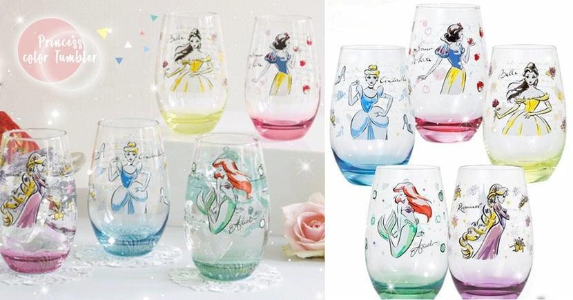 公主真的hen過分!水彩風唯美公主玻璃杯~晶瑩剔透連喝水都變超夢幻♡