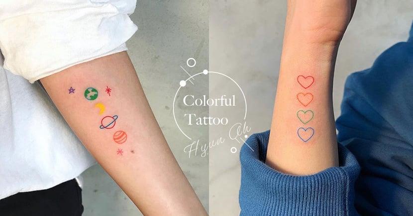 超愛這種小清新感!熱搜16款可愛又時髦的「塗鴉風」彩色刺青,趕快跟著韓妞的腳步刺起來吧!