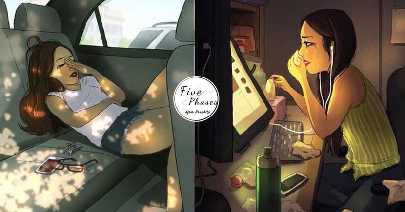 從否認、痛哭到接受~外國藝術家以插畫完美呈現「失戀五階段」,請跟著她一起好好療傷吧