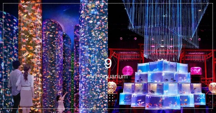 日本「Art Aquarium美術館」開幕!館場內3萬隻各式種類金魚,燈光+藝術設計超級美~