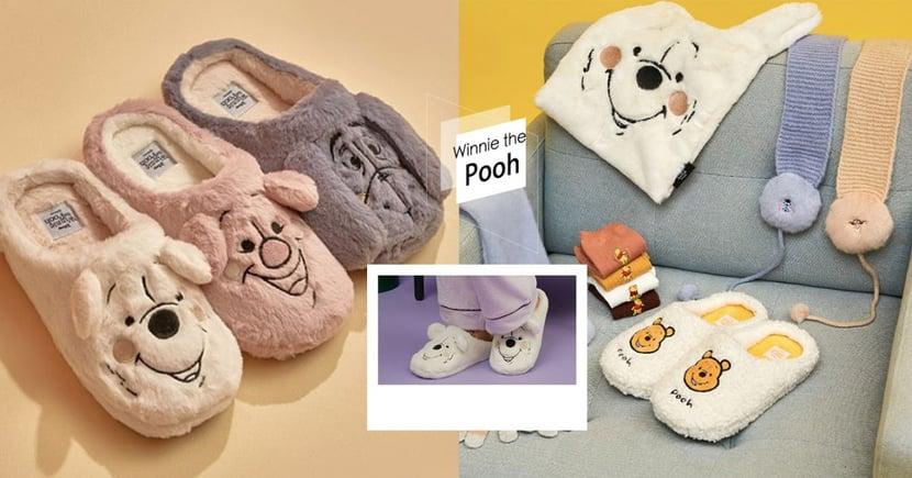 韓國「小熊維尼毛毛拖鞋」超療癒!蓬鬆絨毛+立體刺繡,冬季溫暖必收~